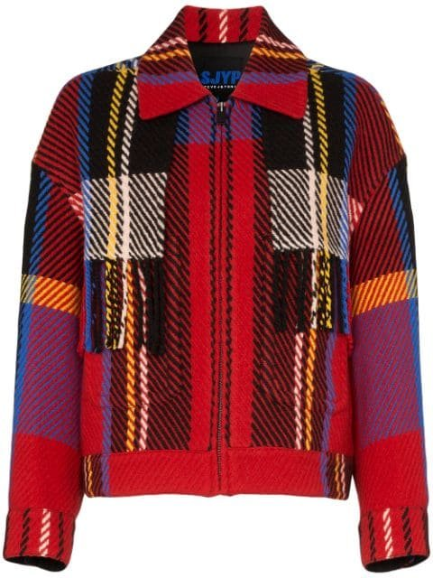 SJYP Checked Fringe Detail Jacket - Farfetch
