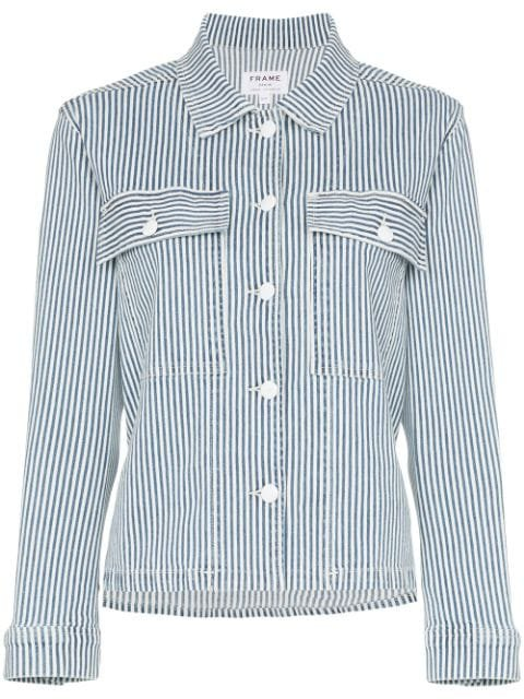 FRAME Engineer Stripe Shirt Jacket - Farfetch