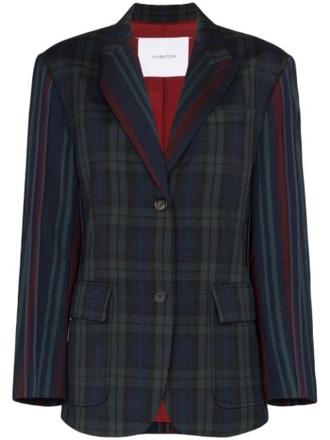 pushBUTTON Check single-breasted Wool Blazer - Farfetch
