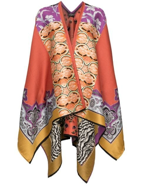 Etro Jacquard Knitted Cape Poncho - Farfetch