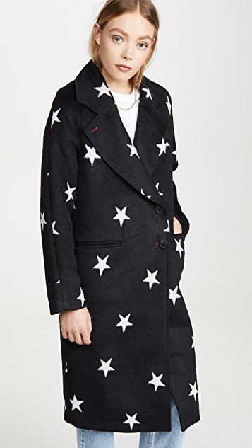 Double Face Star Print Raglan Coat