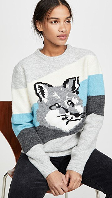 Fox Head Diagonal Stripes Pullover