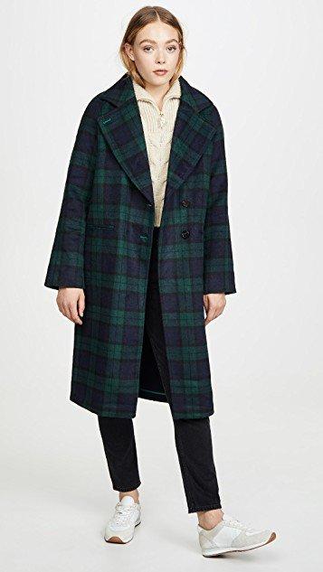 Double Face Plaid Raglan Coat