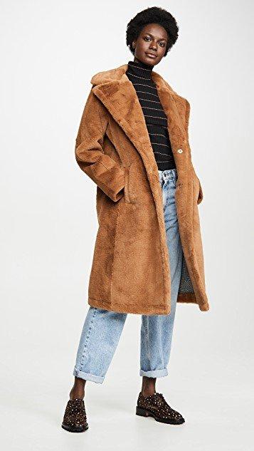 Single Breasted Faux Fur Coat