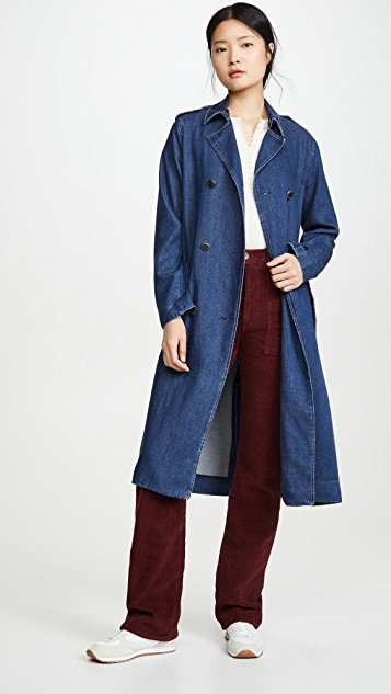 Tailored Denim Trench Coat