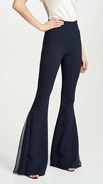 High Waisted Flare Pants with Chiffon Pleated Insert