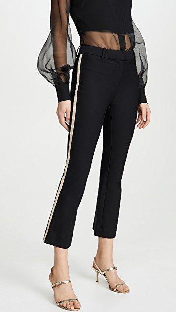 Corinna Tuxedo Stripe Cropped Flare Trousers
