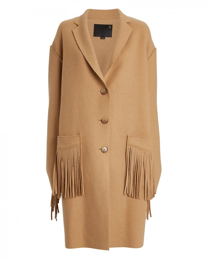 Raw Fringe Wool Coat