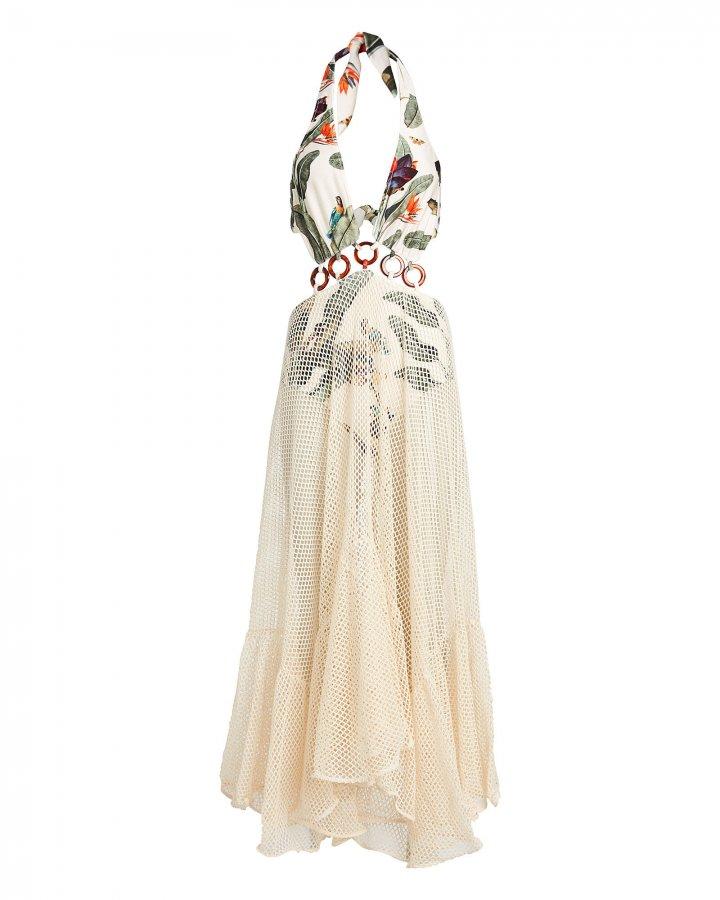 Tropical Mesh Beach Maxi Dress