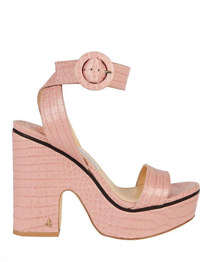 Aimee Croc-Embossed Platform Sandals