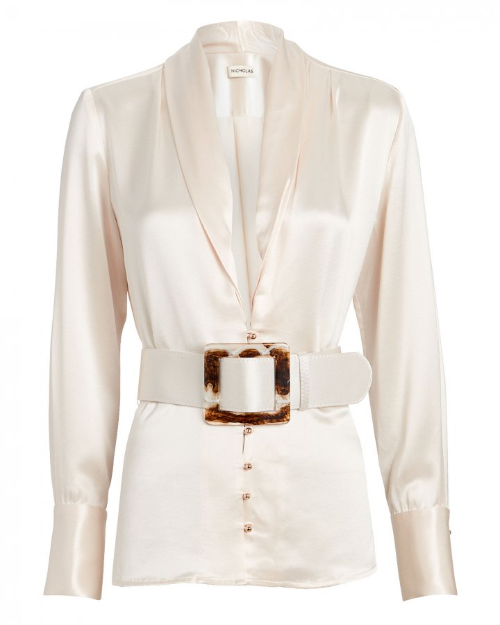 Sahra Belted Button Down Top