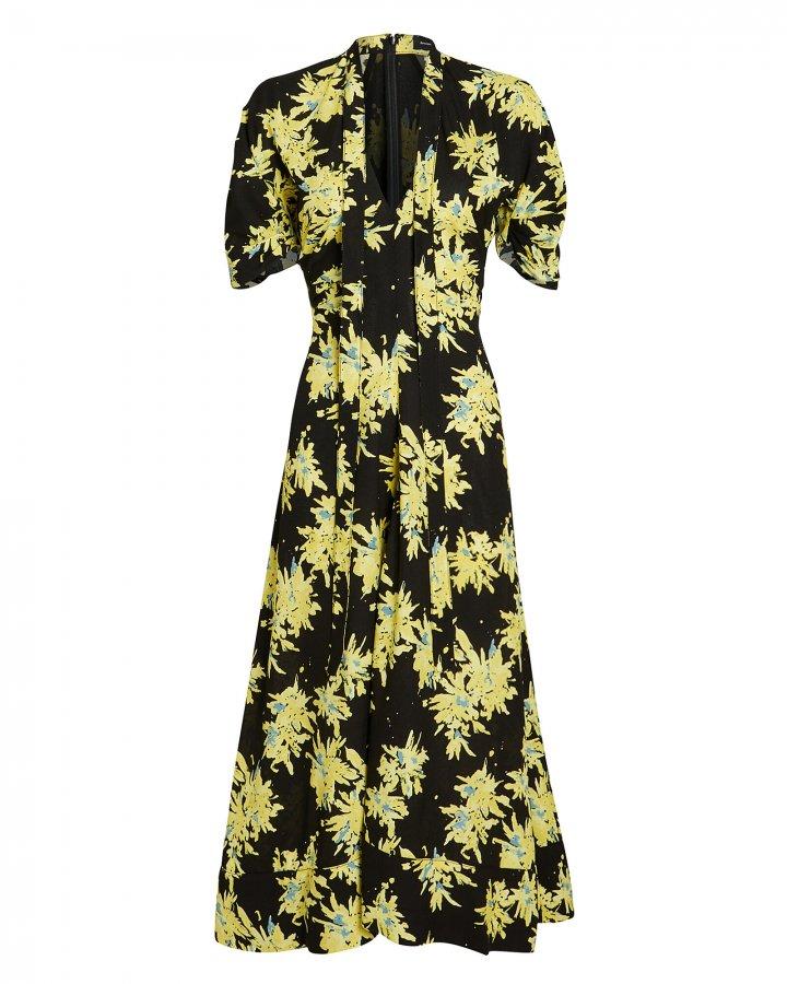 Splatter Floral Tie Neck Dress