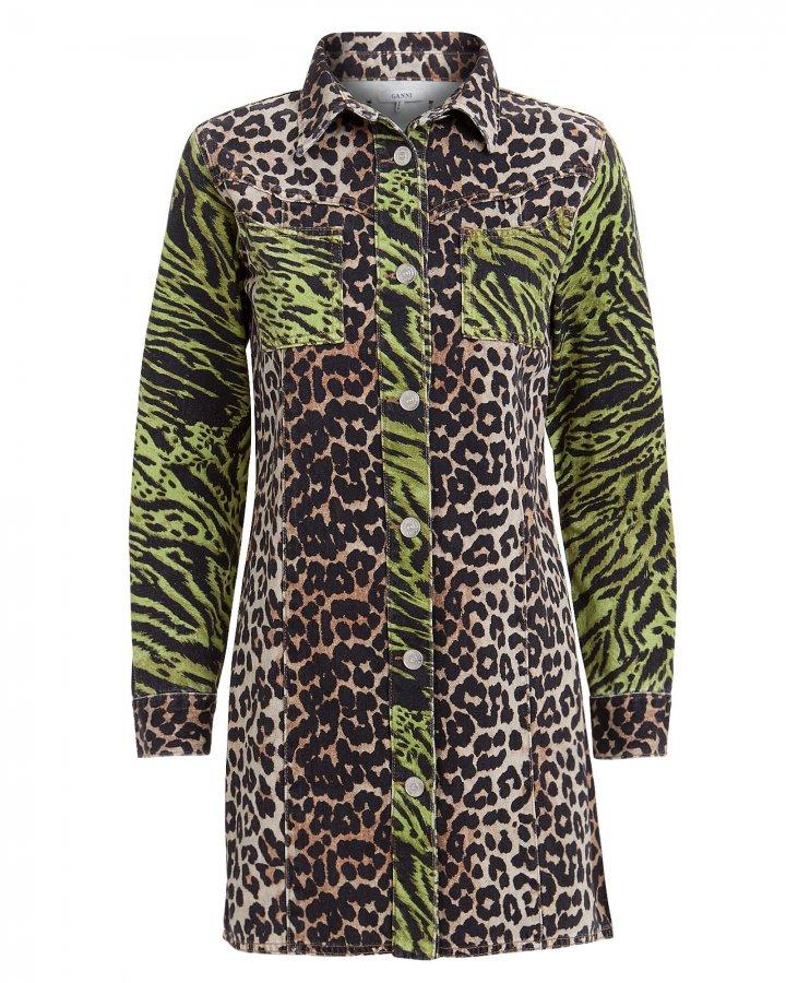 Animal Print Denim Dress
