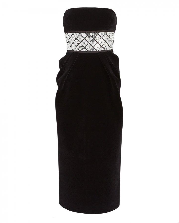 Embellished Strapless Velvet Dress