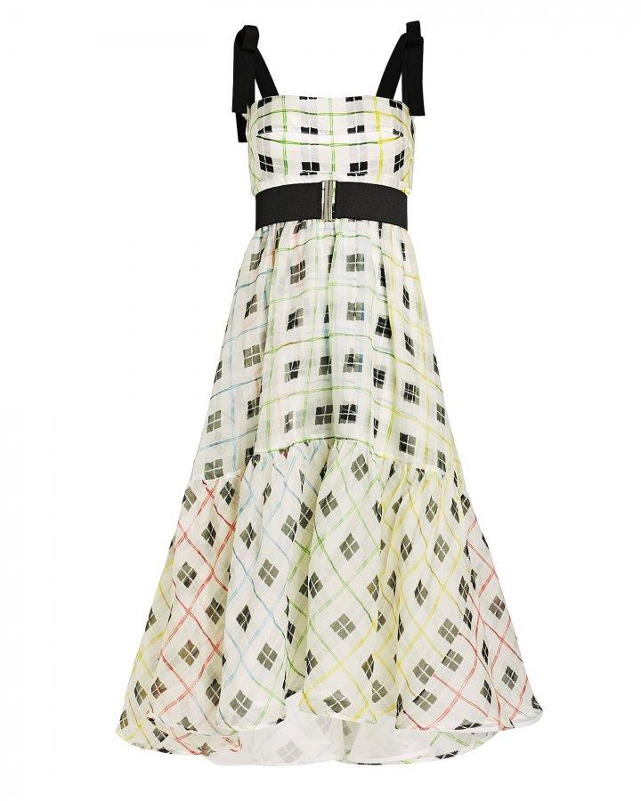 Benita Checked Silk Swing Dress