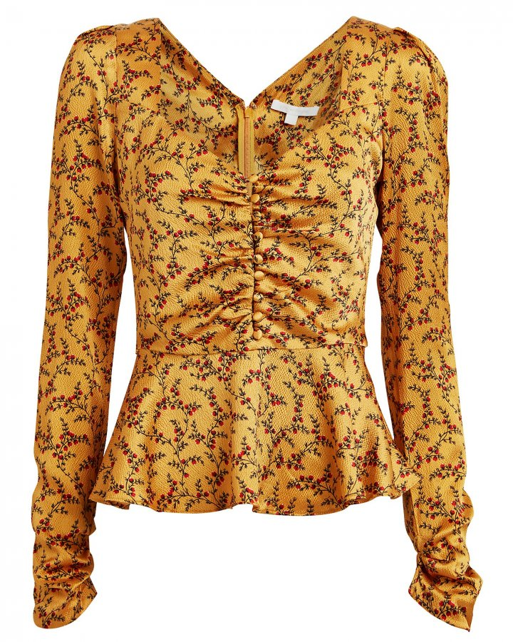 Floral Silk Peplum Blouse
