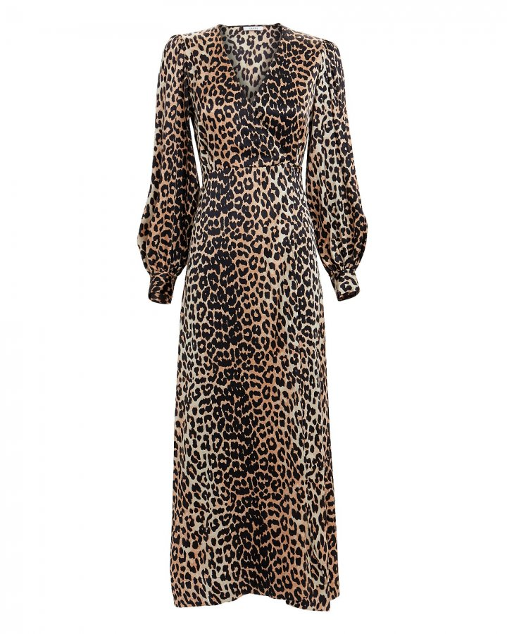 Leopard Print Satin Wrap Dress