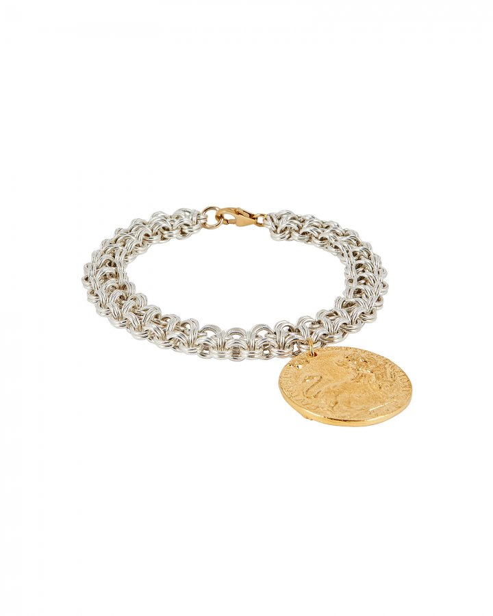 Leone Chain and Medallion Bracelet