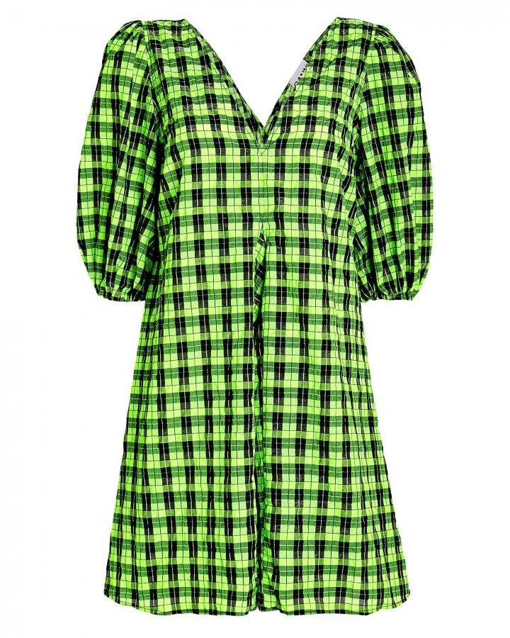 Seersucker Gingham Mini Dress