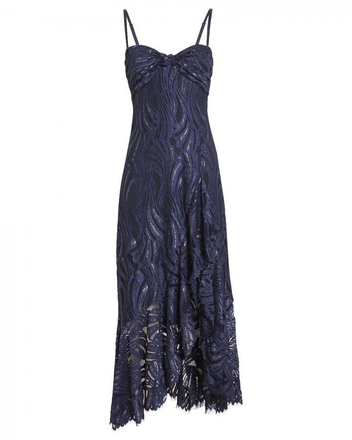 Metallic Lace Twist Top Dress