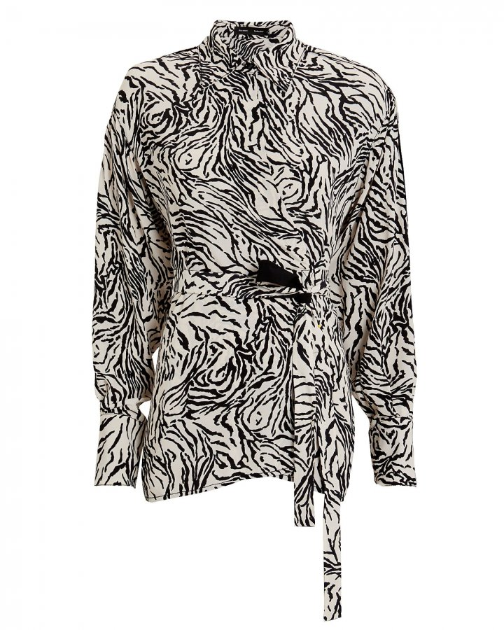 Zebra-Printed Wrap Blouse