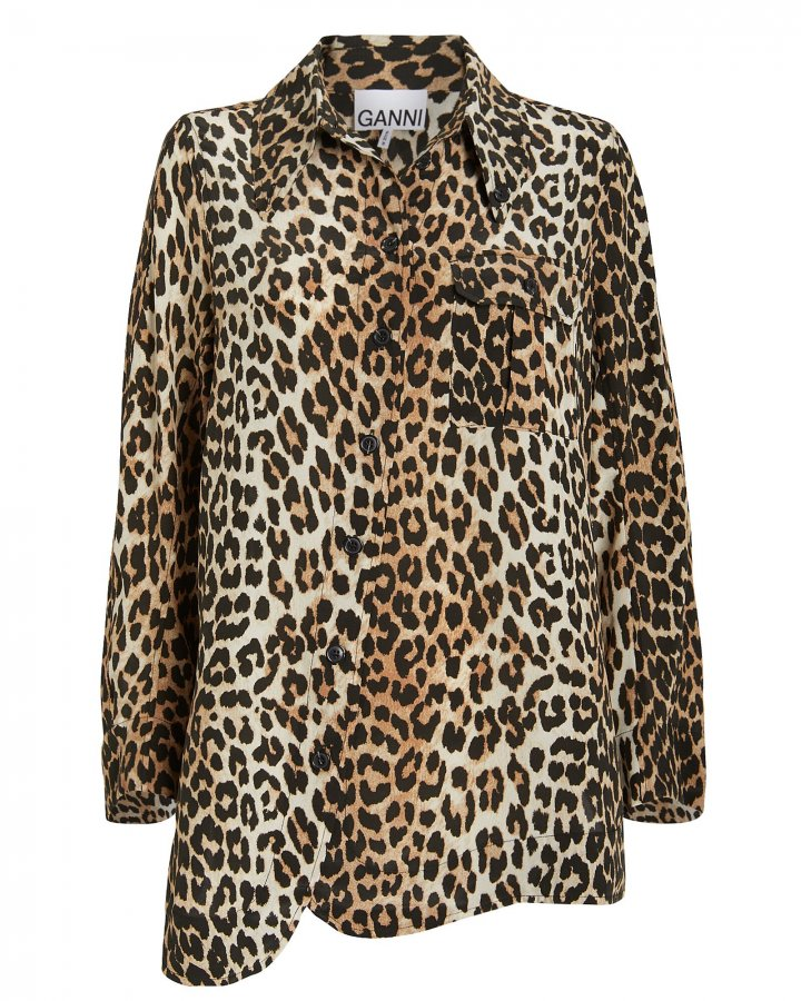 Crepe Leopard Button Down Shirt