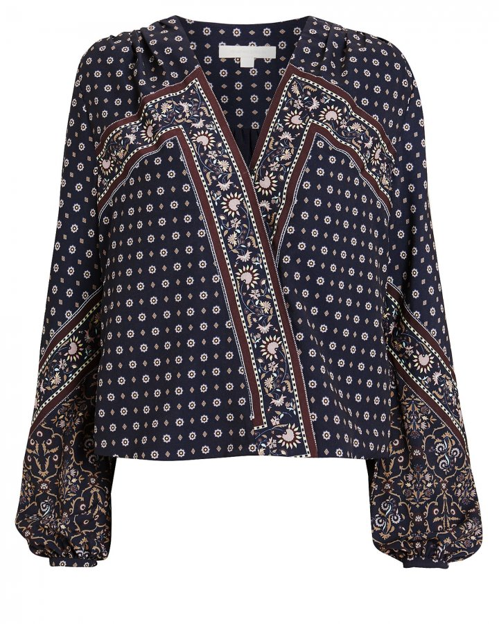 Scarf Print Crepe Blouse