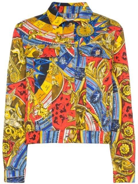 Moschino Roman scarf-print Denim Jacket - Farfetch