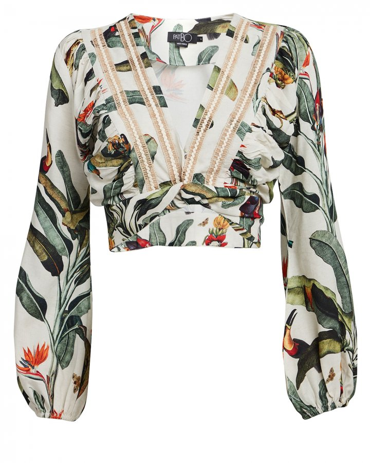 Tropical Cropped Wrap Top