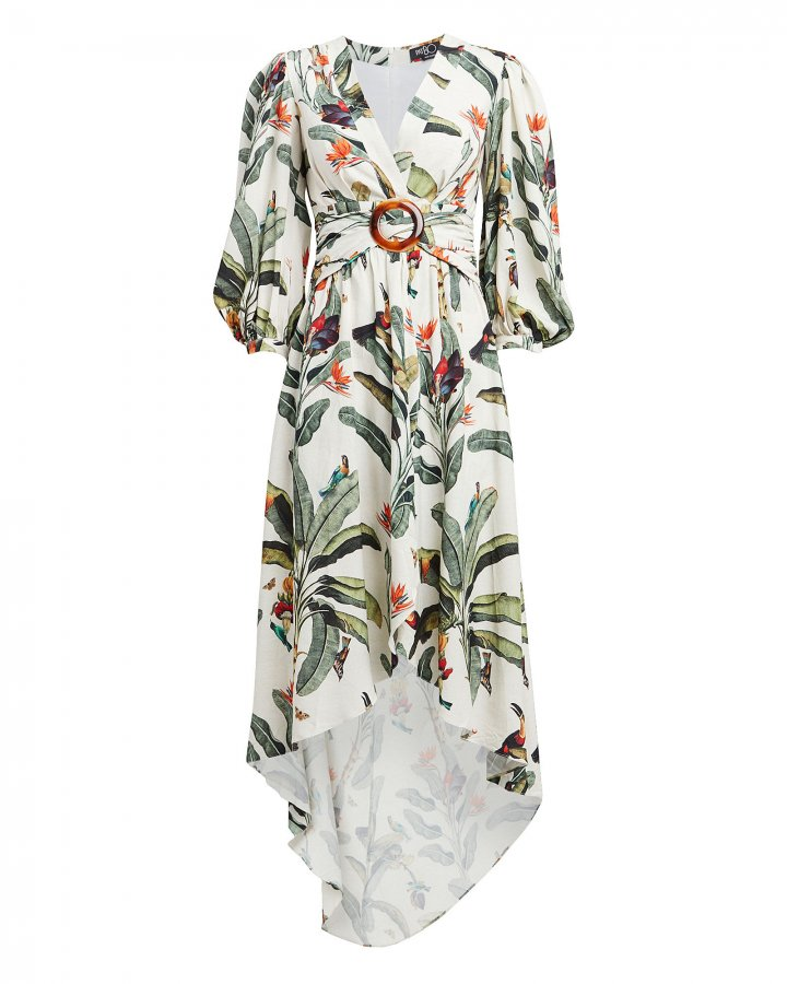 Tropical Print High-Low Romper