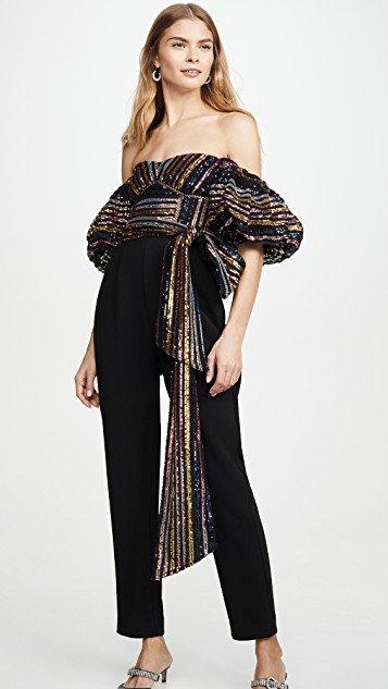 Stripe Sequin Jumpsuit