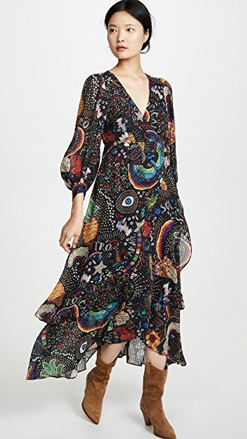 Black Borogodo Wrap Dress