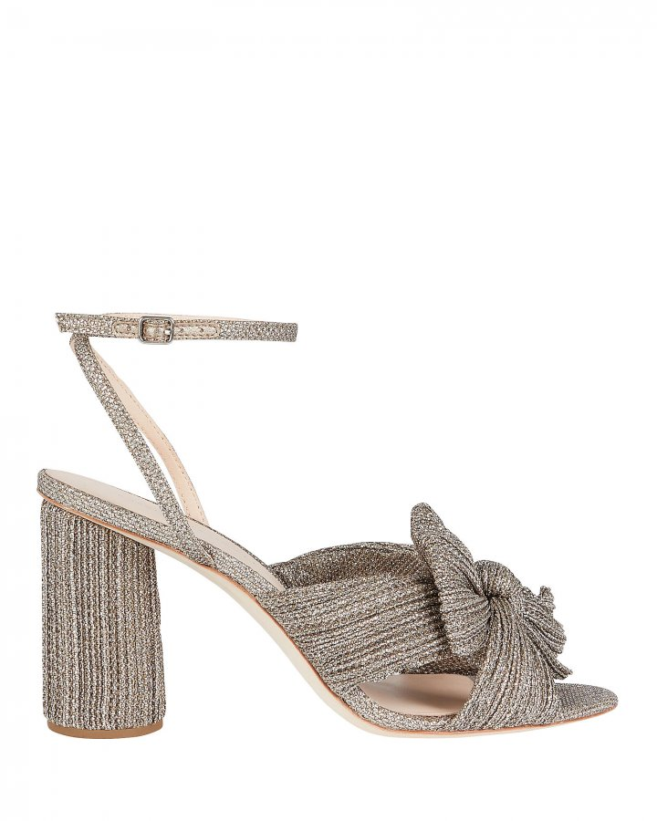 Camellia Pleated Bow Front Sandals