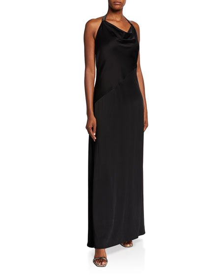 Silk Cady Cowl-Neck Halter Gown, Black