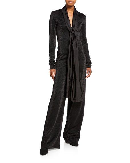 Blackout Metallic Wide-Leg Jumpsuit w/ Neck Tie