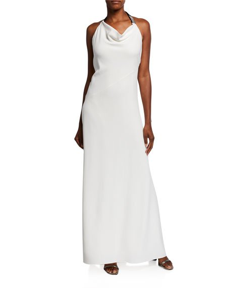 Silk Cady Cowl-Neck Halter Gown, White