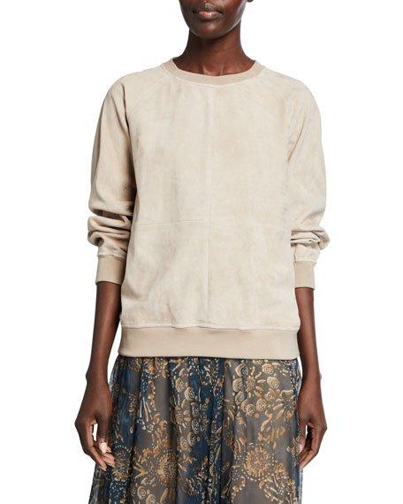 Suede Crewneck Sweatshirt
