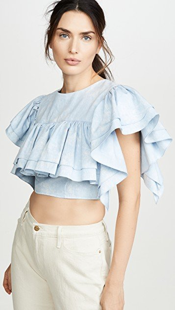 Cropped Top with Ruffles