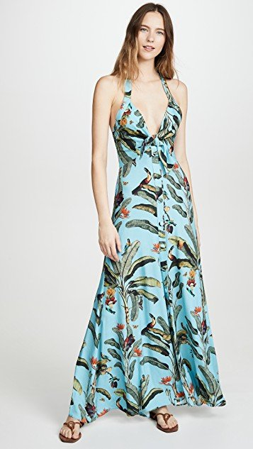 Tropical Print Halterneck Maxi Dress