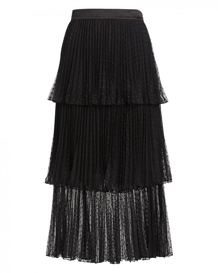Edith Ruffled Tulle Midi Skirt