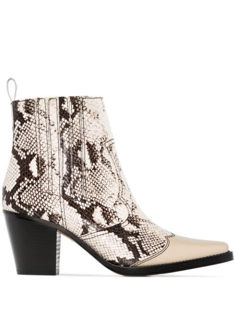 GANNI Lovina 70mm snake-print Leather Cowboy Boots - Farfetch
