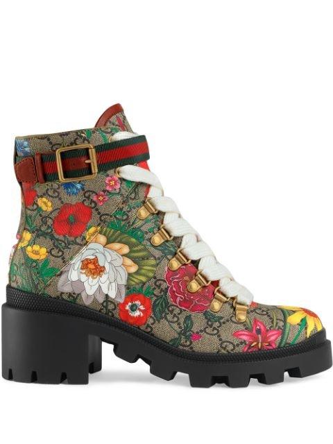 Gucci Flora Print 57mm Ankle Boots - Farfetch