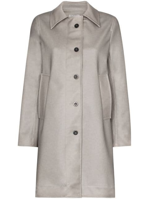 Ashley Williams Dolly button-up Faux Leather Coat - Farfetch