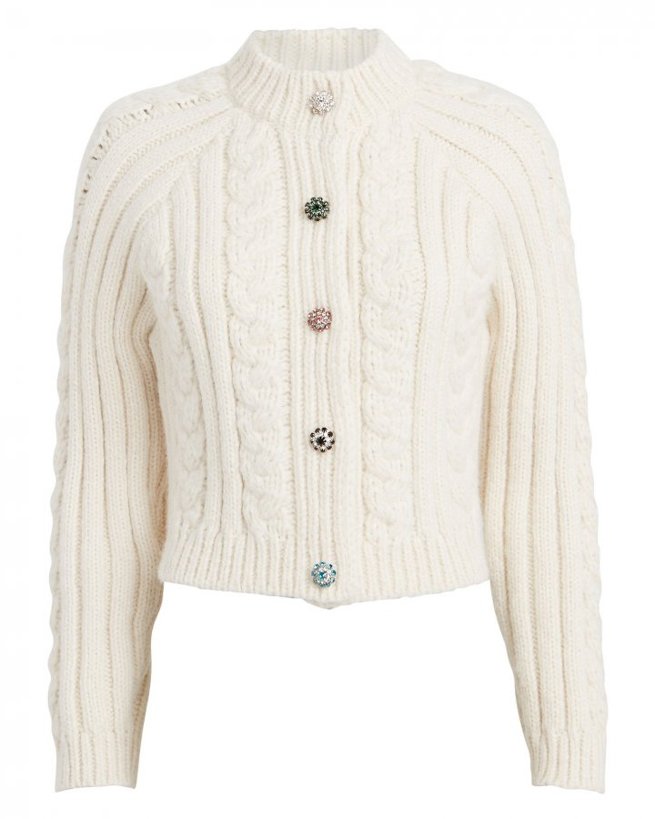 Diamanté Wool-Blend Cable Cardigan