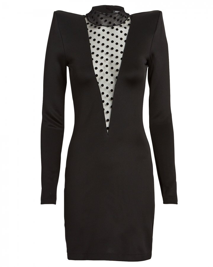 Flocked Polka Dot Stretch Knit Dress