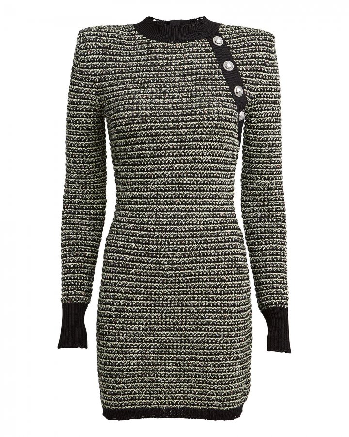 Mélange Tweed Bodycon Dress