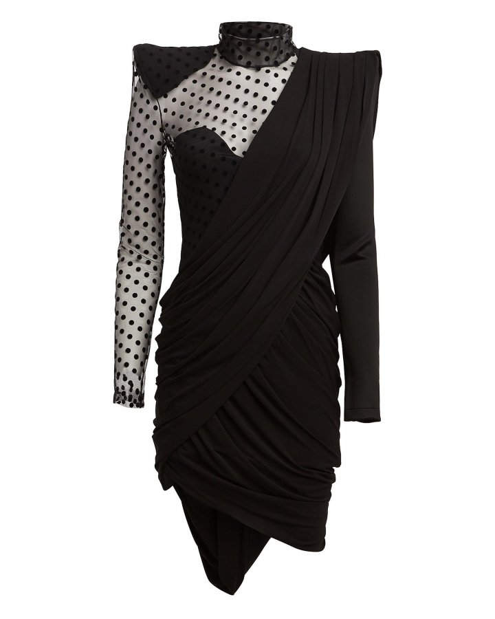 Asymmetric Swiss Dot Mini Dress