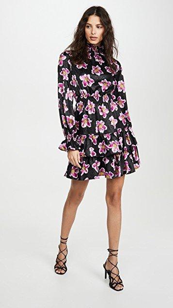 Yulia Satin Jacquard Winter Rose Dress