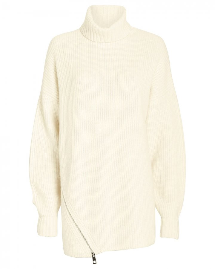 Zip Hem Cashmere Turtleneck Sweater