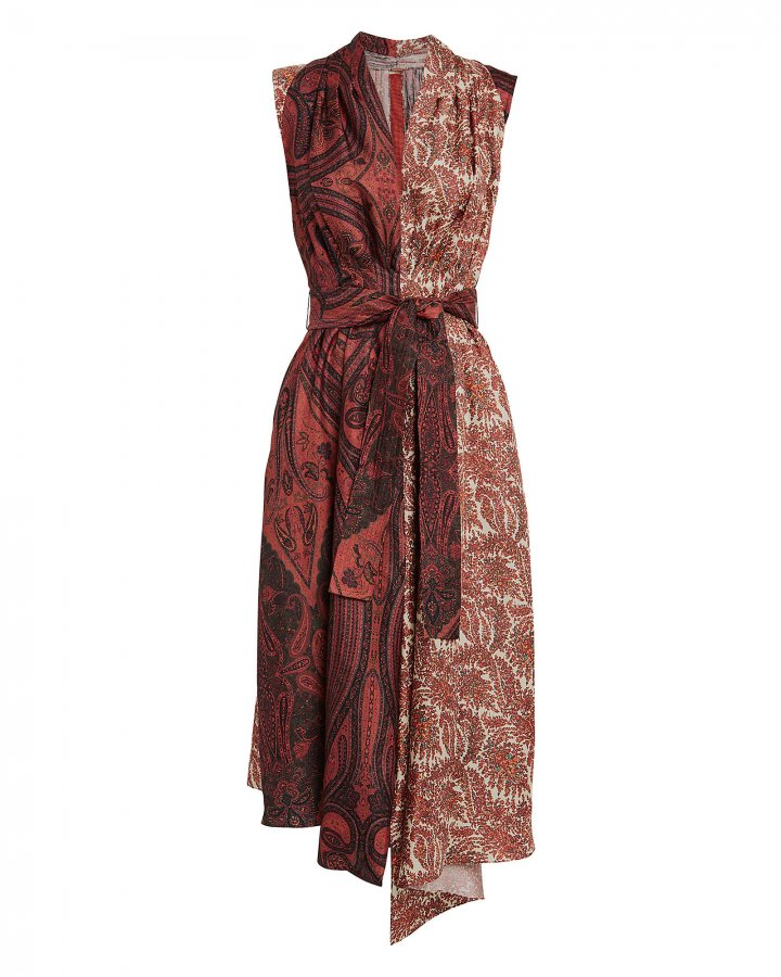 Paisley Sleeveless Silk Dress